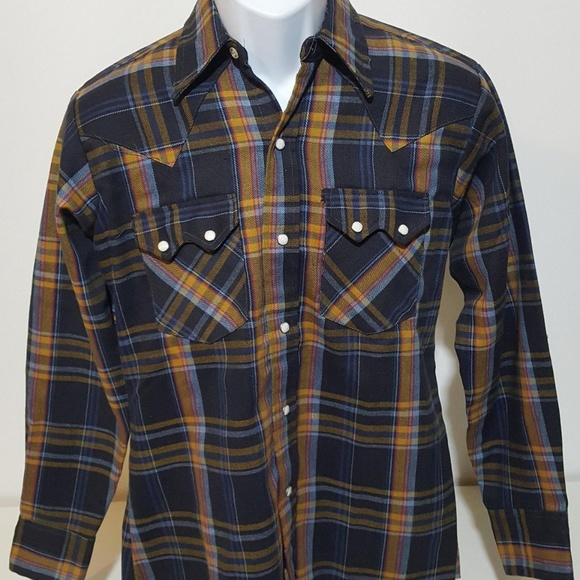 Cable Car Clothiers Other - Cable Car VTG 70s Pearl Snap Flannel Shirt M 15